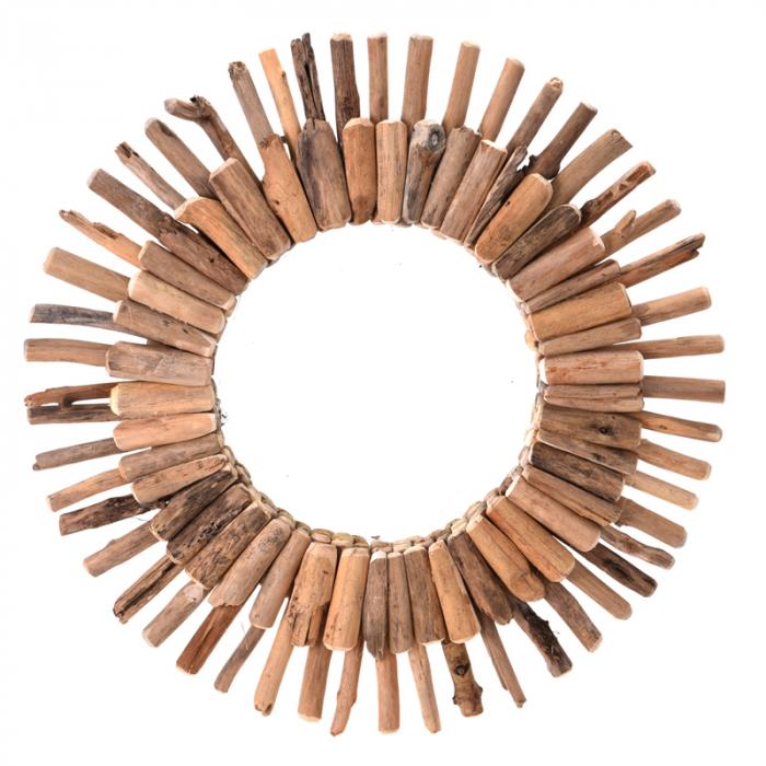 Oglinda 60 cm, rama din lemn Driftwood, maro, greutate 1.85 kg 1