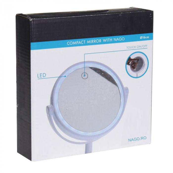 Oglinda cosmetica cu led Dim H 27cm x  Diam 16.5 cm , polistiren, cablu USB 50 cm inclus 4