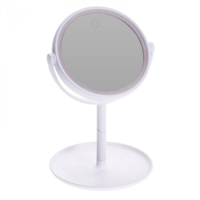 Oglinda cosmetica cu led Dim H 27cm x  Diam 16.5 cm , polistiren, cablu USB 50 cm inclus 0