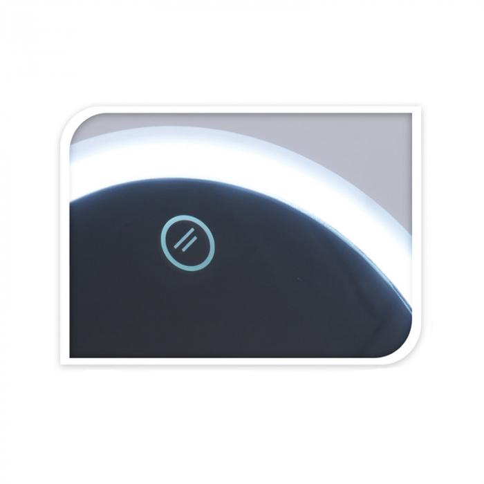 Oglinda cosmetica cu led Dim H 27cm x  Diam 16.5 cm , polistiren, cablu USB 50 cm inclus 1