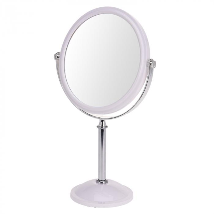 Oglinda cosmetica fata dubla, o fata marire x2, rama plastic, culoare argintiu 0