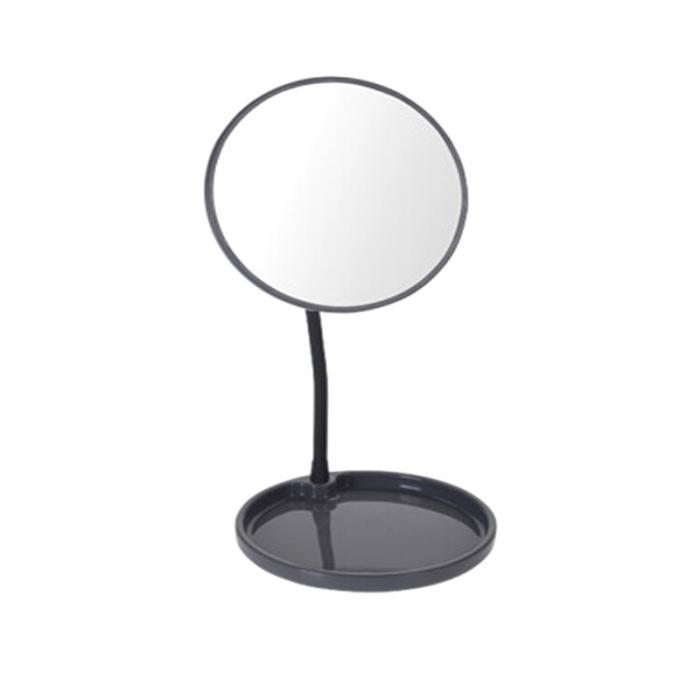 Oglinda cosmetica pe picior, inaltime 29 cm, oglinda si baza de diametru 14 cm, material silicon , metal, culoare gri [0]