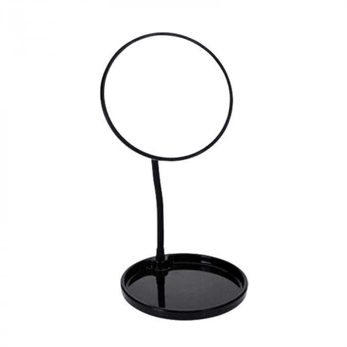 Oglinda cosmetica cu picior, inaltime 29 cm, oglinda si baza de diametru 14 cm, material silicon , metal, culoare negru [0]