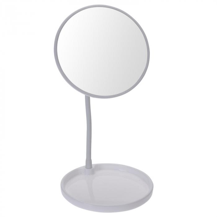 Oglinda cosmetica pe picior, inaltime 29 cm, oglinda si baza de diametru 14 cm, material silicon si metal, culoare alb 0