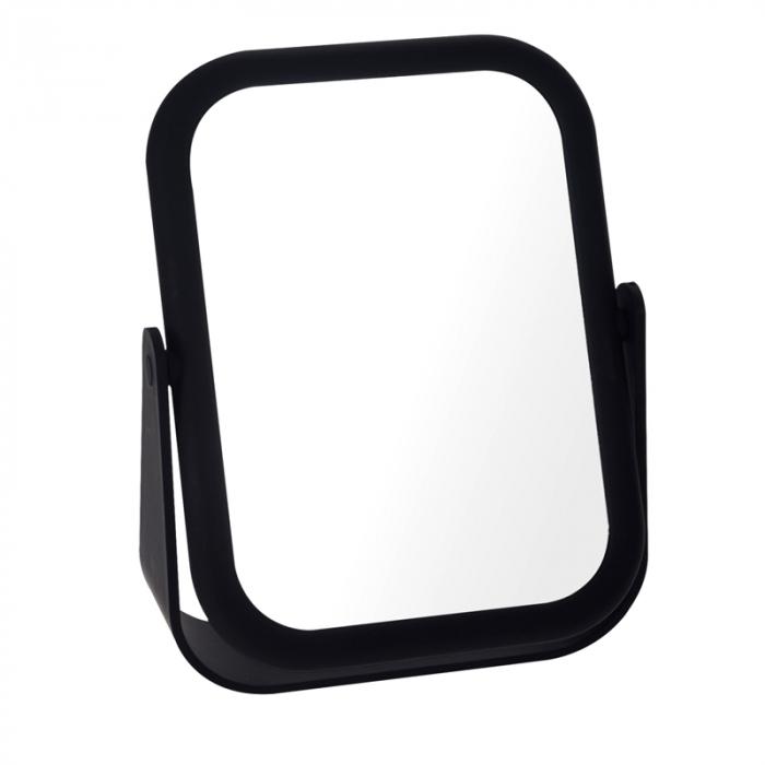 Oglinda cu fata dubla, o fata marire x3, rama cauciuc culoarea neagra, dimensiuni 18x14 cm 0