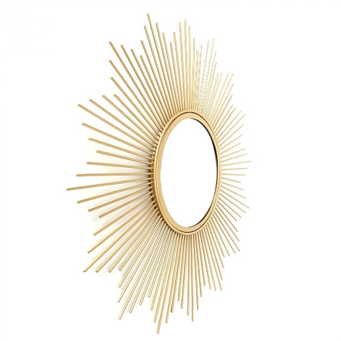 Oglinda de perete din Metal cu rama Aurie, model Soare, D 32.5 cm [2]