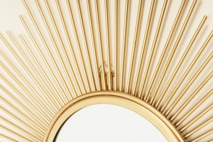 Oglinda de perete din Metal cu rama Aurie, model Soare, D 32.5 cm [4]
