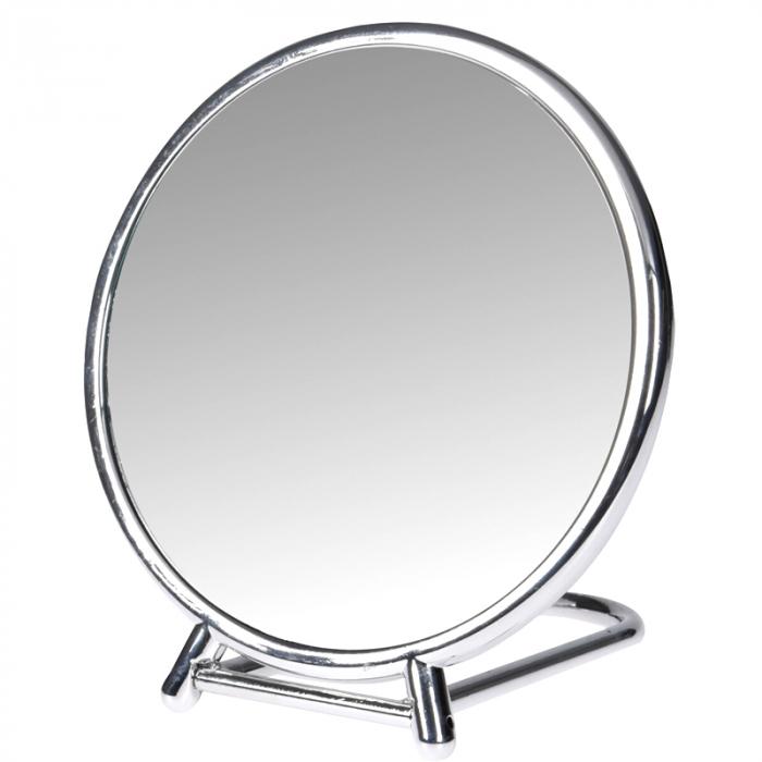 Oglinda fata dubla, o fata marire x2,  rama plastic argintie  diametru 14.5 cm 1