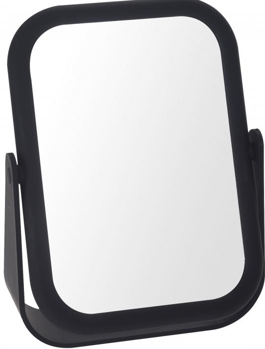 Oglinda cu fata dubla, o fata marire x3 cu rama Neagra din cauciuc, Dim 21x15cm 0