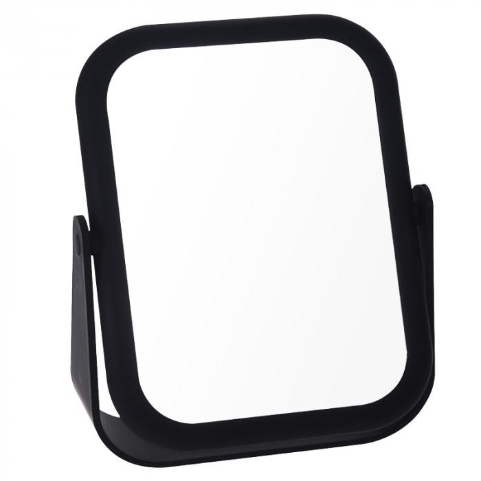 Oglinda cu fata dubla, o fata marire x3 cu rama Neagra din cauciuc, Dim 21x15cm 2