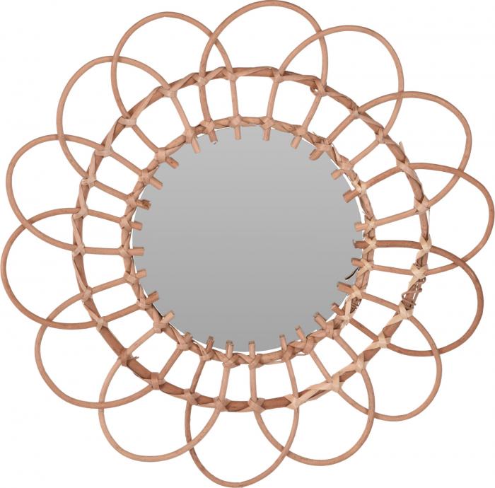 Oglinda in forma de floare, rama impletita din trestie, diametru 49 cm 4