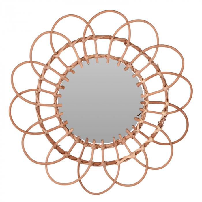 Oglinda in forma de floare, rama impletita din trestie, diametru 49 cm 1