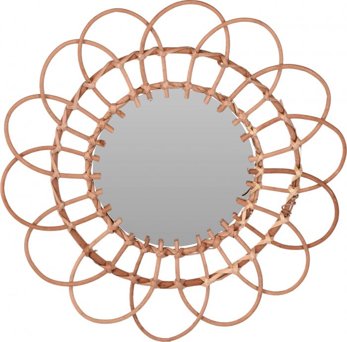Oglinda in forma de floare, rama impletita din trestie, diametru 49 cm 0