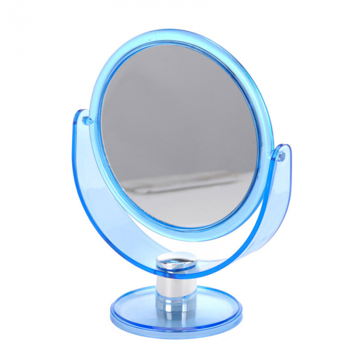 Oglinda Machiaj cu 2 fete, 1 cu marire x2, rama din plastic, Albastru transparent, 18.5x24cm [1]