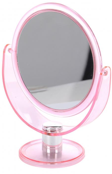 Oglinda pentru Machiaj cu 2 fete, 1 cu marire x2, Dim 18.5x24cm, rama plastic Roz transparent [1]