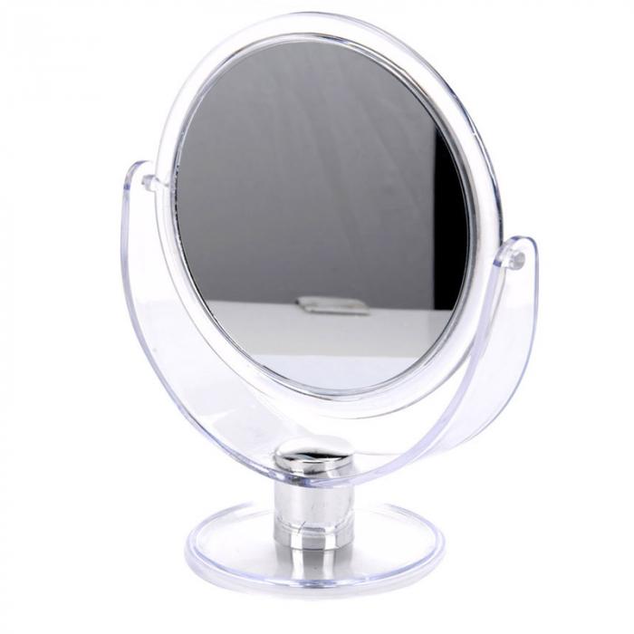 Oglinda pentru Machiaj, Pensat, cu 2 fete, 1 cu marire x2, Rama Alb Transparent, 18.5x24cm 1