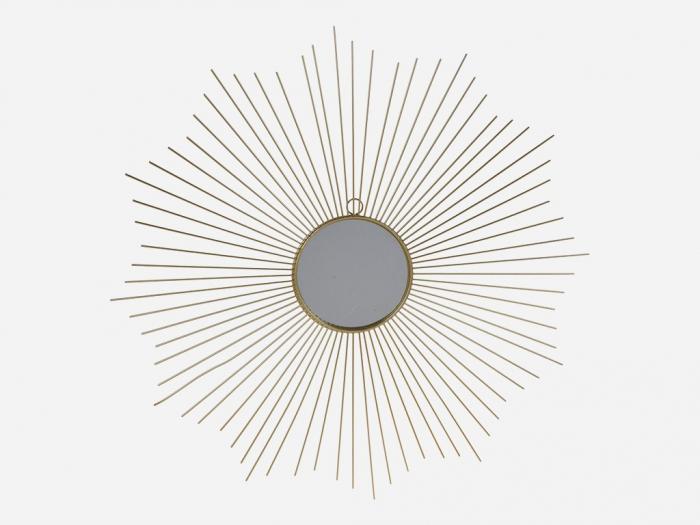 Oglinda decorativa din metal, culoarea Auriu, Diam 64 cm 2