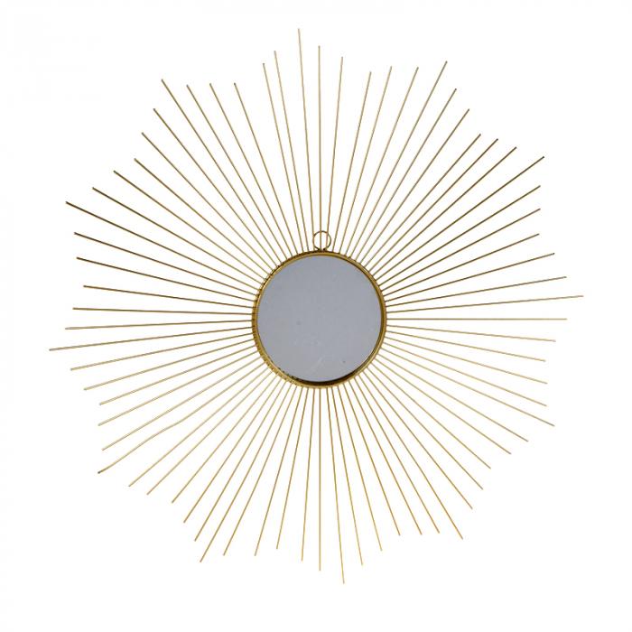 Oglinda decorativa din metal, culoarea Auriu, Diam 64 cm 0
