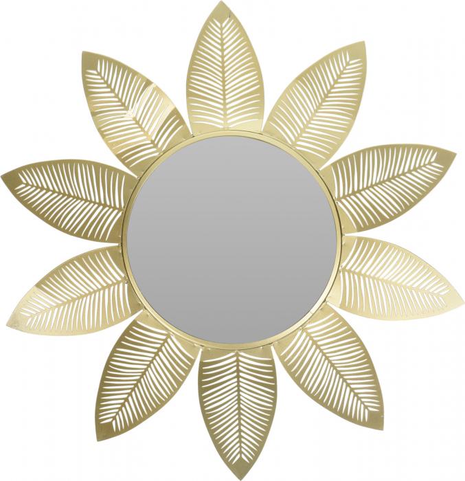 Oglinda metal forma floare cu petale lungi aurii diametru 55 cm [0]