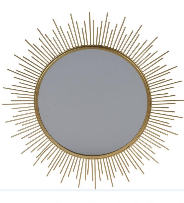 Oglinda decorativa de perete, pentru interior, NAGO, Rama din Metal, 40 cm, Auriu [0]