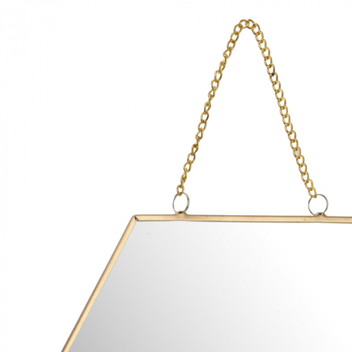 Oglinda rama metal aurie forma fagure 25 cm 2
