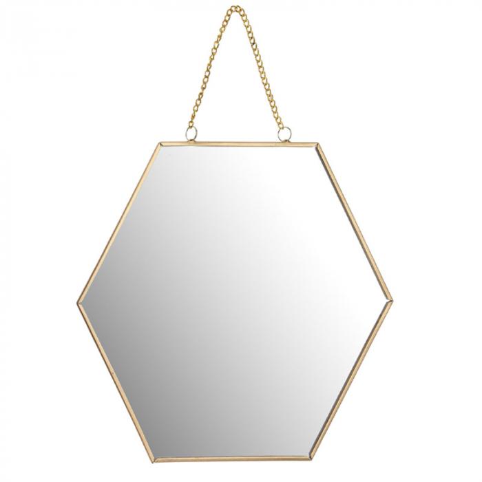 Oglinda rama metal aurie forma fagure 25 cm 1