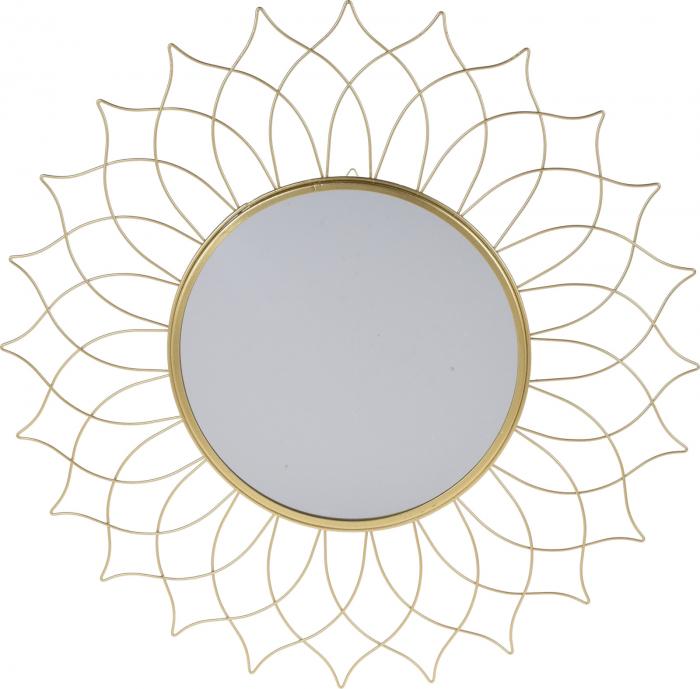 Oglinda rama metal aurie forma floare diametru 50 cm [0]