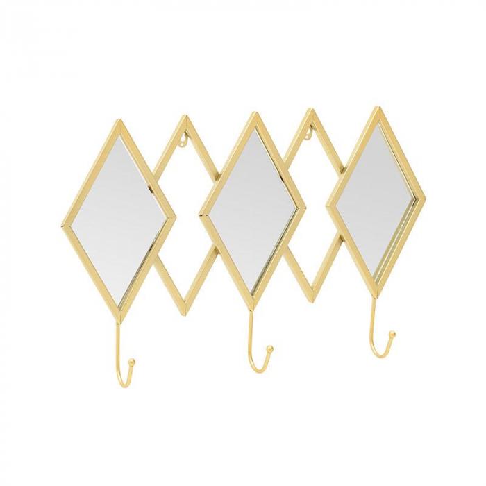 Oglinda rama metal cu cuier culoare auriu 52Χ7Χ33 cm 2