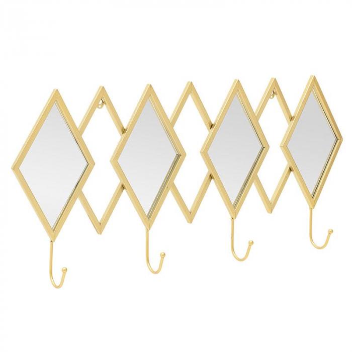 Oglinda rama metal cu cuier culoare auriu 70Χ7Χ33 cm 2