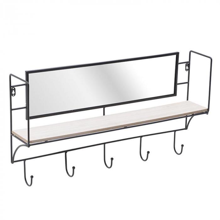 Oglinda cu rama din metal, si cuier negru 70X12X38 cm 0