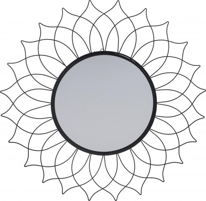 Oglinda de perete, rama metal Neagra, cu agatatoare, stil Modern, D 50 cm x 1 cm 0