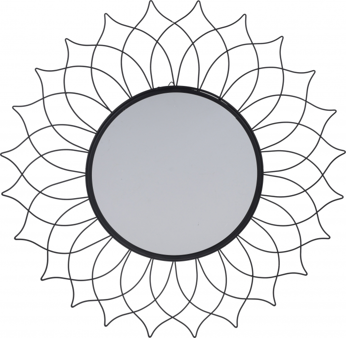 Oglinda de perete, rama metal Neagra, cu agatatoare, stil Modern, D 50 cm x 1 cm 1