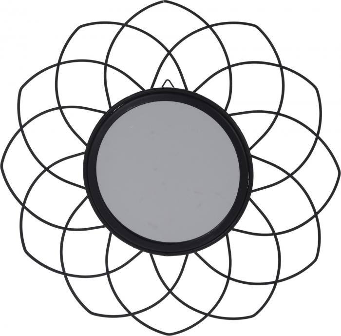 Oglinda rama metal neagra, forma floare, diametru 26 cm 1