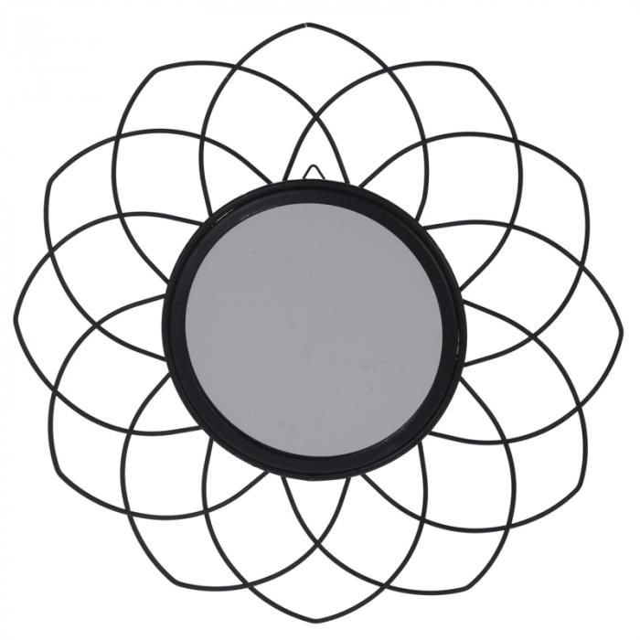 Oglinda rama metal neagra, forma floare, diametru 26 cm 0