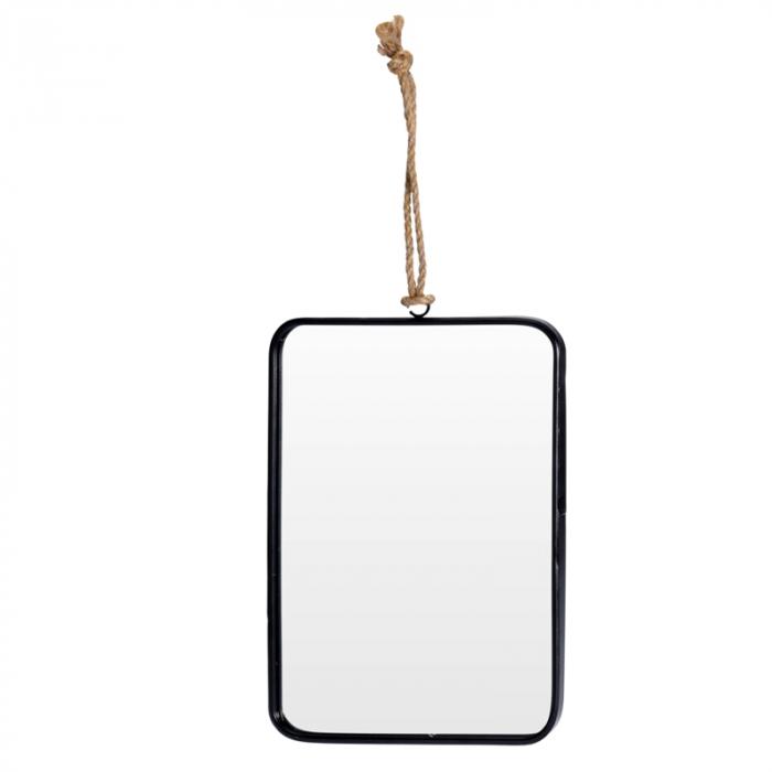 Oglinda rama Neagra, rama din metal dreptunghiulara, 25.5x18.5 cm 2