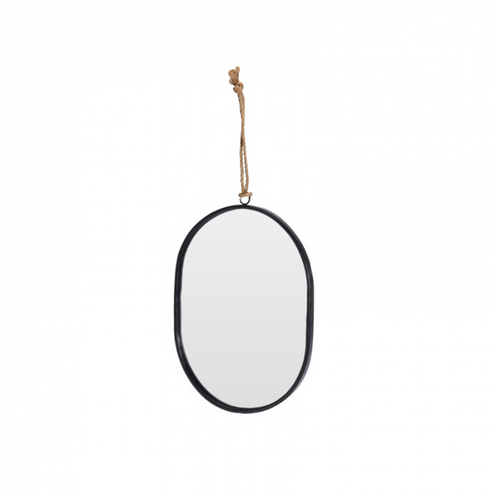 Oglinda rama Neagra, din metal, ovala, 25.5x18.5 cm 1