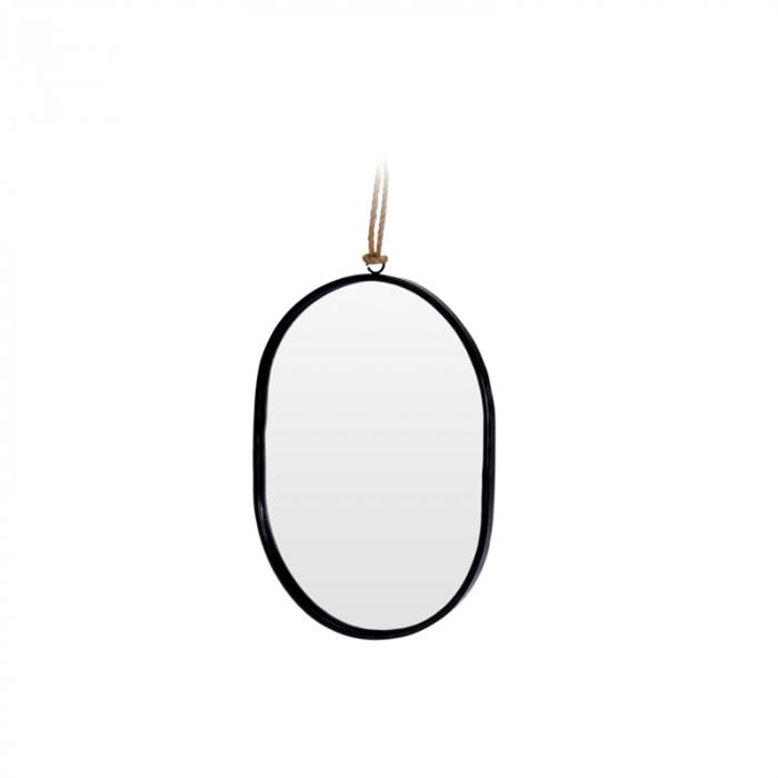 Oglinda rama Neagra, din metal, ovala, 25.5x18.5 cm 2