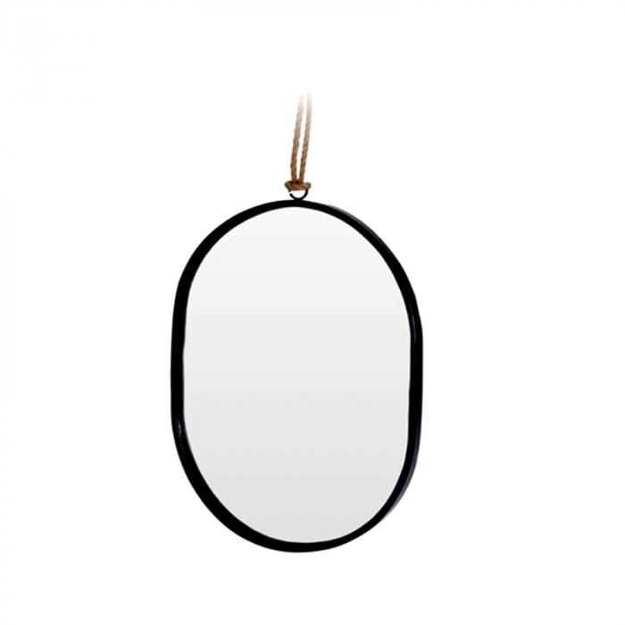 Oglinda rama Neagra, din metal, ovala, 25.5x18.5 cm 0