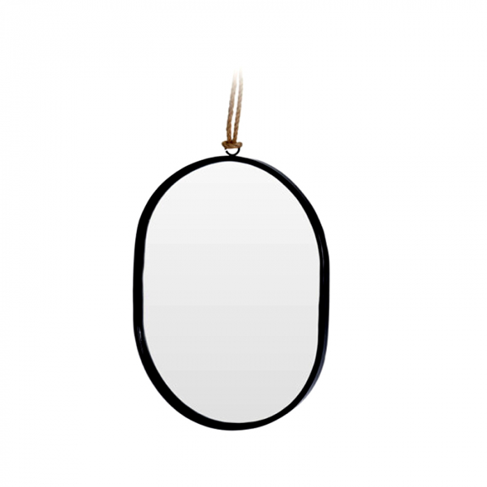 Oglinda rama Neagra, din metal, ovala, 25.5x18.5 cm 3
