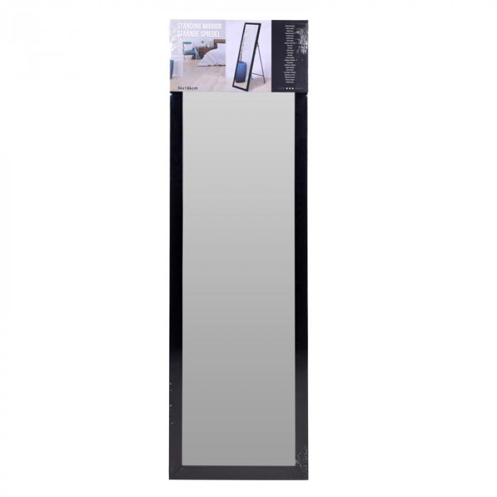 Oglinda rama plastic 36x126 cm culoare neagra cu picior metal 5