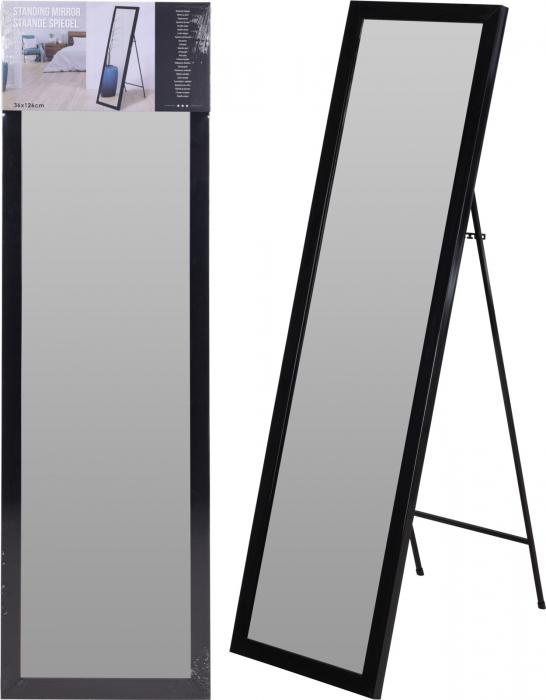Oglinda rama plastic 36x126 cm culoare neagra cu picior metal 7