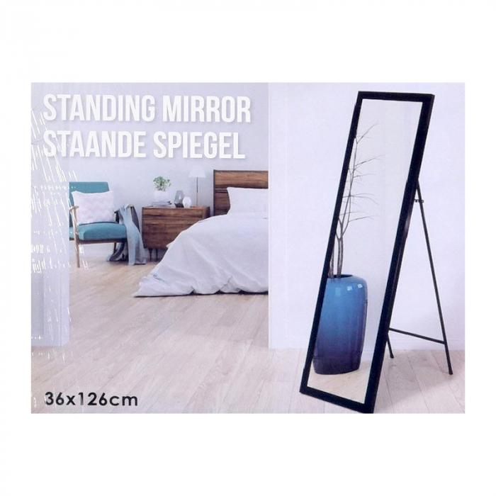 Oglinda rama plastic 36x126 cm culoare neagra cu picior metal 6