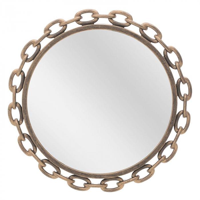 Oglinda rama plastic culoare auriu antichizat diametru 46 cm 0
