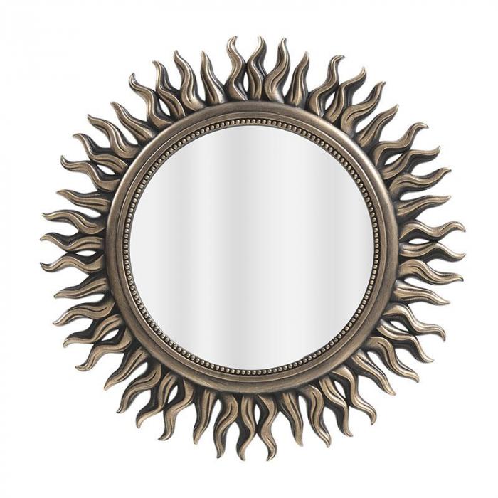 Oglinda rama plastic culoare auriu antichizat diametru 53 cm 0