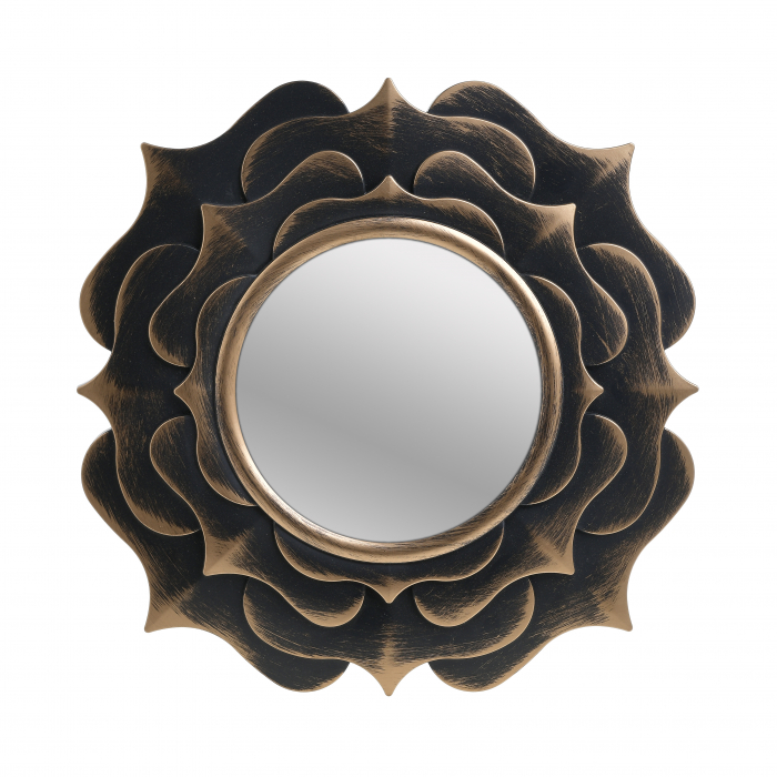 Oglinda rama plastic forma floare culoare aurie 40 cm 0