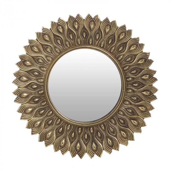 Oglinda rama polirezina culoare auriu diametru 25 cm 0