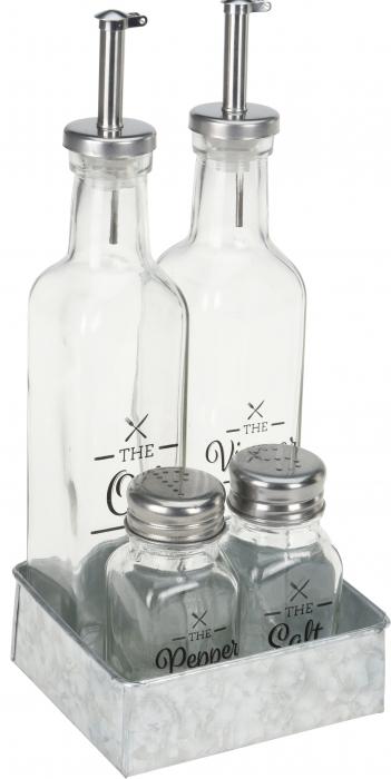 Oliviera 4 piese cu 2 sticle pentru ulei si otet 26x5x5 cm, solnita si pipernita 5x4x9,5cm 0
