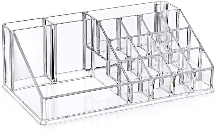 Organizator de Cosmetice, NAGO®, 16 compartimente, Plexiglas, 22 x 13 x 8 cm, Transparent 0