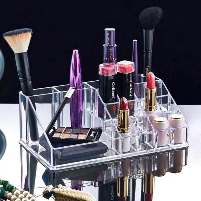 Organizator de Cosmetice, NAGO®, 16 compartimente, Plexiglas, 22 x 13 x 8 cm, Transparent 14