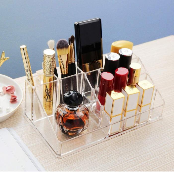Organizator de Cosmetice, NAGO®, 16 compartimente, Plexiglas, 22 x 13 x 8 cm, Transparent 4